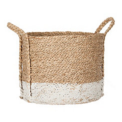 Two-Tone Seagrass Braided Basket, 12 in.