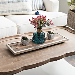 Flat Wood Tray with Cast Metal Rim