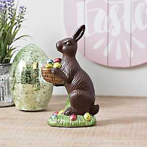 Chocolate Bunny Holding Basket Statue
