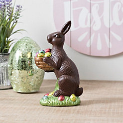 Chocolate Bunny Holding Basket Statue