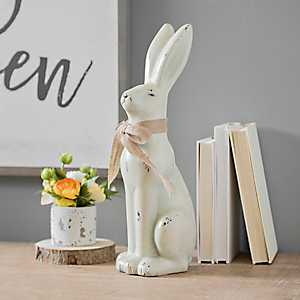 Sitting Bunny with Burlap Bow Statue