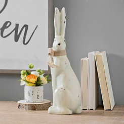 Sitting Bunny with Burlap Bow