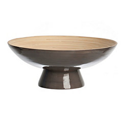 Gray Bamboo Footed Bowl