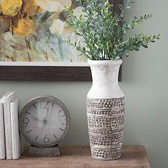Two-Tone Textured Ceramic Vase, 15 in.