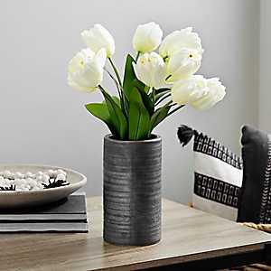 Cream Tulip Arrangement in Concrete Vase