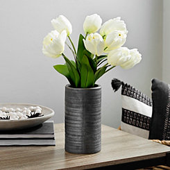 Cream Tulip Arrangement in Concrete Vase
