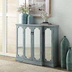 Mila Blue Mirrored 4-Door Cabinet