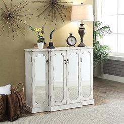 Mila White Mirrored 4-Door Cabinet