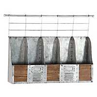 Galvanized Metal and Wood Mounted Wine Rack