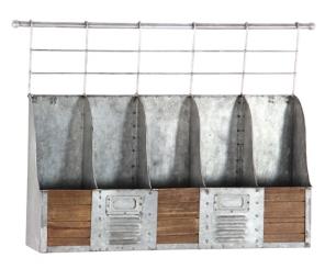 Galvanized Metal and Wood Mounted Wine Rack