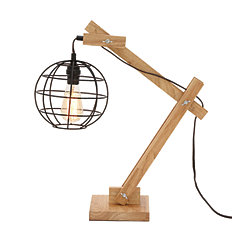 Wood Hinged Round Edison Bulb Table Lamp