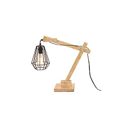 Wood Hinged Hexagonal Edison Bulb Table Lamp