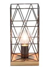 Metallic and Natural Wood Geometric Table Lamp