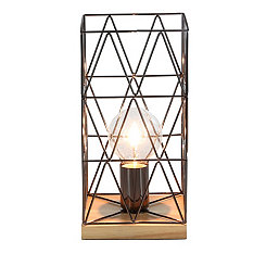 Metallic and Natural Wood Geometric Table Lamp
