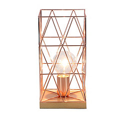 Rose Gold and Natural Wood Geometric Table Lamp