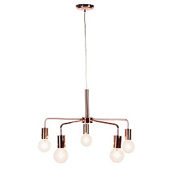 Rose Gold Reflections 5-Light Ceiling Light