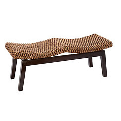 Woven Water Hyacinth and Wood Saddle Bench