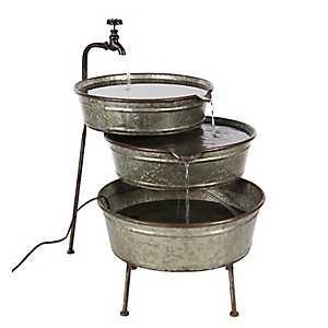 Farmhouse 3-Tier Iron Bucket Fountain