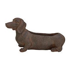 Distressed Brown Dachshund Dog Planter