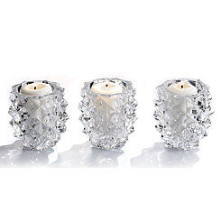 Crystal Pine Cone Pillar Candle Holders, Set of 3