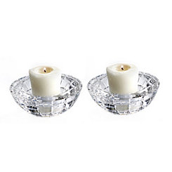 Emerald Cut Glass Votive Holders, Set of 2