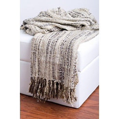 Cream and Brown Woven Fringe Throw Blanket