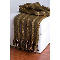 Brown Woven Fringe Throw Blanket