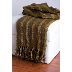 Brown Woven Fringe Throw Blanket