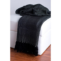 Black Woven Fringe Throw Blanket