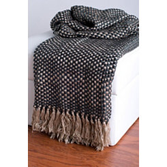 Beige and Gray Woven Fringe Throw Blanket