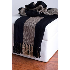 Black and Beige Woven Fringe Throw Blanket