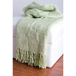 Sage Green Woven Fringe Throw Blanket