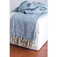 Blue Woven Fringe Throw Blanket