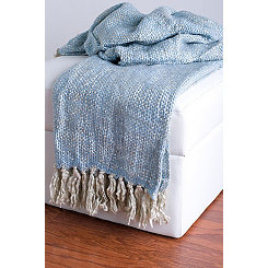 Blue Woven Fringe Throw Blanket