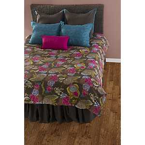 Brown Stitched 7-pc. Queen Duvet Set