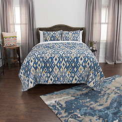 Blue Diamonds Cotton 3-pc. Queen Quilt Set