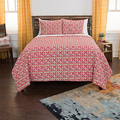 Red Quarters Cotton 3-pc. Queen Quilt Set