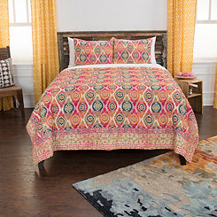 Pink Medallion Cotton 3-pc. Queen Quilt Set
