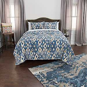 Blue Diamonds Cotton 3-pc. King Quilt Set