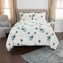 White Floral 3-pc. King Quilt Set
