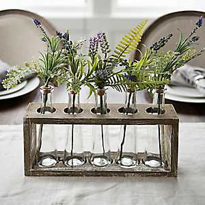 Lavender Stems in Glass Bottle Crate