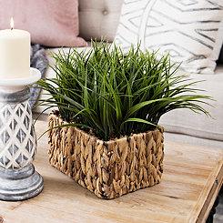 Grass Arrangement in Woven Basket