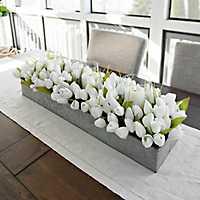 White Tulip and Galvanized Metal Centerpiece