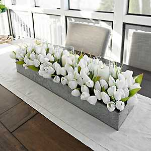 White Tulip and Galvanized Metal Centerpiece