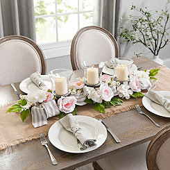 Striped Ribbon and Rose Floral Centerpiece