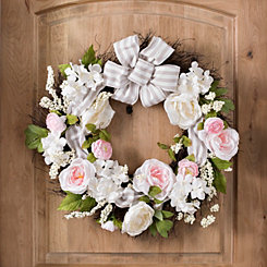 Rose Wreath with Striped Bow
