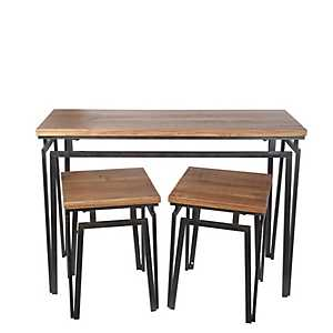 Block Top Dining Table and Stools, Set of 3