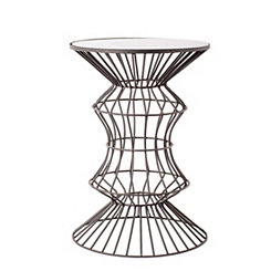 Pinched Geometric Iron Wire Glass Top Accent Table
