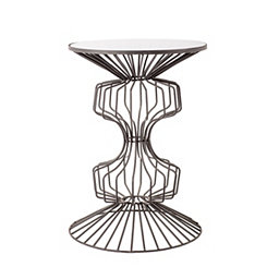 Abstract Iron Wire Glass Top Accent Table