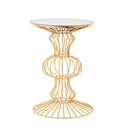 Gold Abstract Iron Wire Glass Top Accent Table
